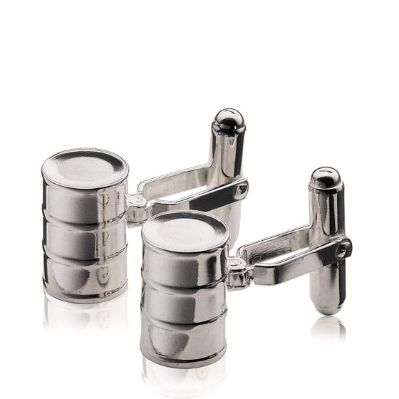 Oil-Drum-Cufflinks-Silver-Plate-Base