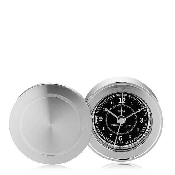 Wells-Single-Face-Clock-Silver-Plate-Black-Base