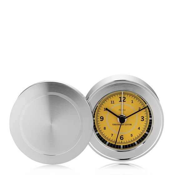 Wells-Single-Face-Clock-Silver-Plate-Mustard-Base