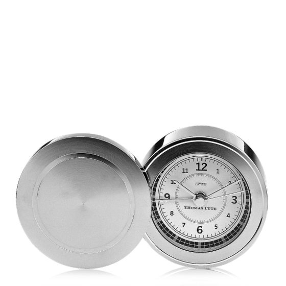 Wells-Single-Face-Clock-Silver-Plate-White-Base