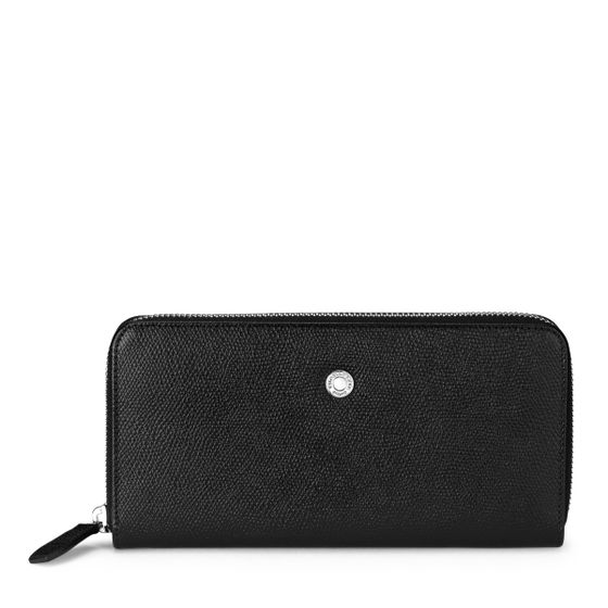 Zip-Around-Purse-Grained-Leather-Black-Front-Base