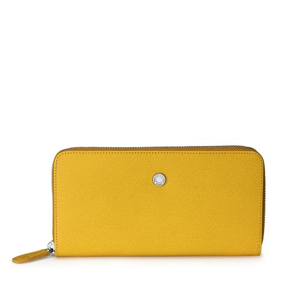 Zip-Around-Purse-Grained-Leather-Mustard-Front-Base-1