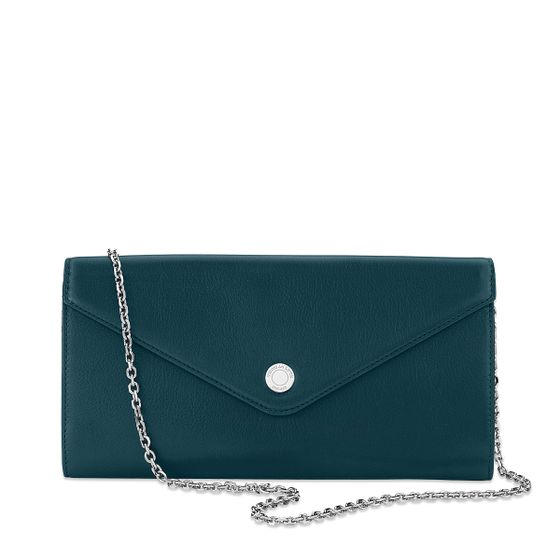 Purse-Clutch-Bridle-Leather-Sea-Green-Front-Chain-Base