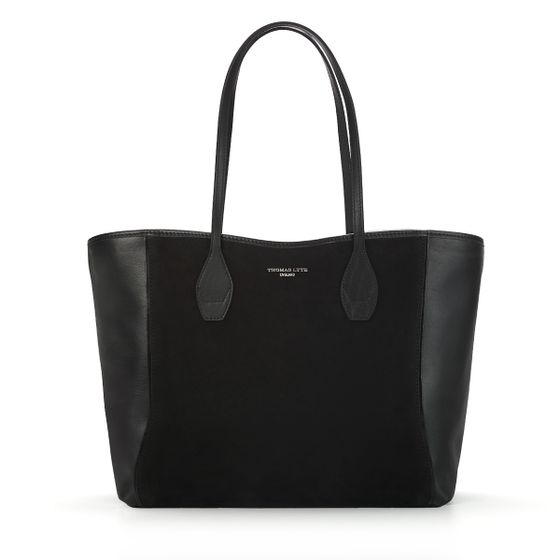 Olivia-Shopper-Tote-Black-Suede-Front-Base