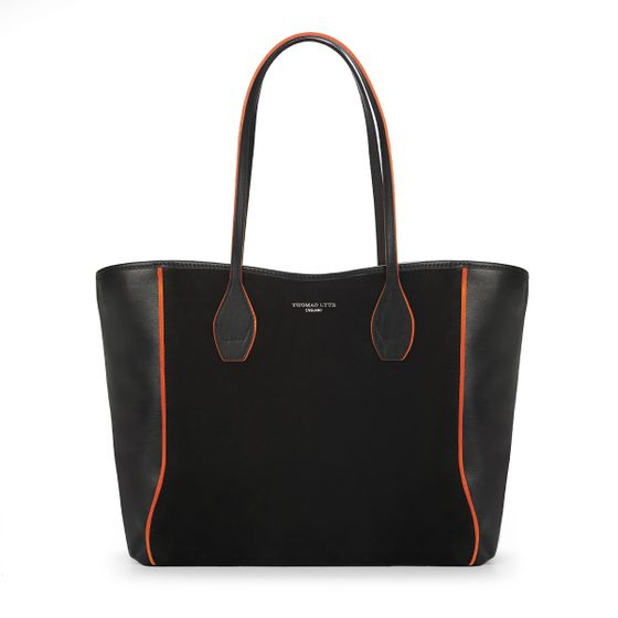 Olivia-Shopper-Tote-Black-Bridle-With-Tangerine-Trim-Front-Base