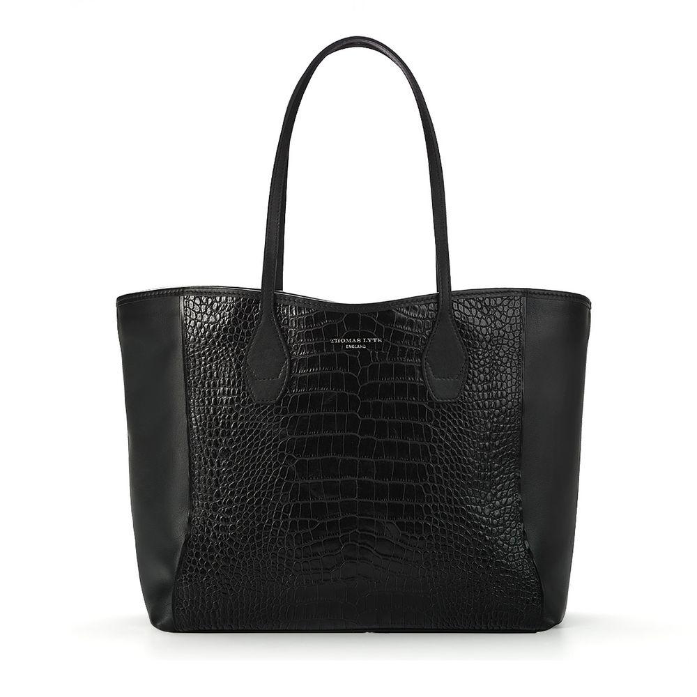 1f4dc3c5aa72 Olivia Tote Bag Black Croc Embossed Leather