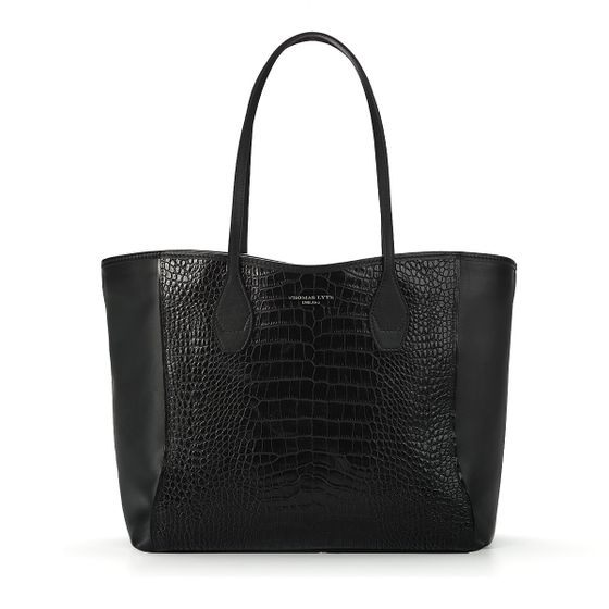 Olivia-Shopper-Tote-Black-Croc-With-Black-Suede-Front-Base