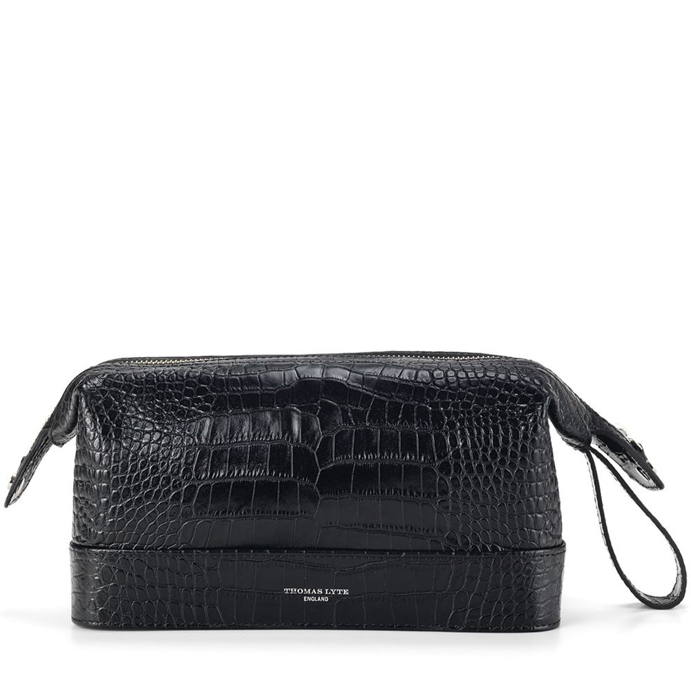 492b92d55c Wash Bag Croc Embossed Leather Black