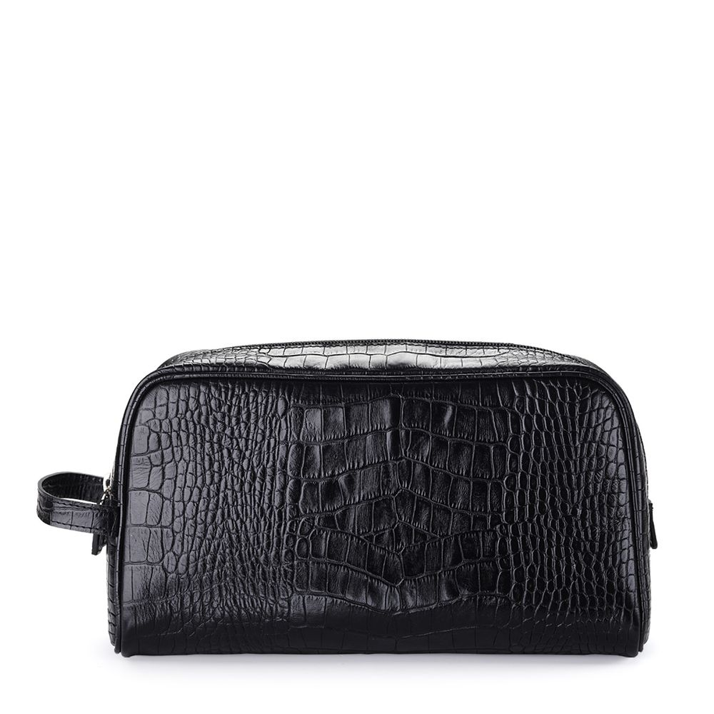 8f54a20aad Travel Wash Bag Croc Embossed Leather Black - Thomas Lyte