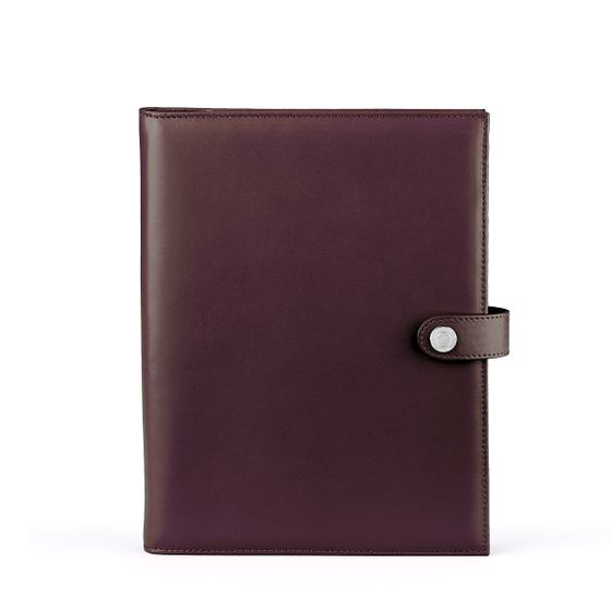 A5-Ipad-Folder-Bridle-Leather-Chocolate-Front-Base