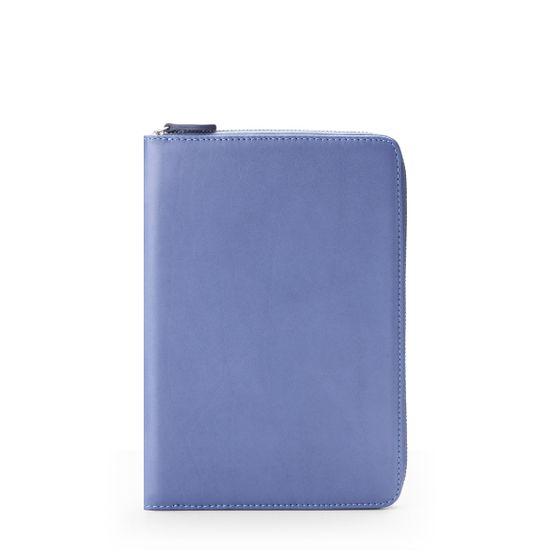 Mini-Ipad-Zip-Around-Case-Bridle-Leather-Denim-Blue-Front-Base
