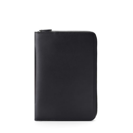 Mini-Ipad-Zip-Around-Case-Bridle-Leather-Black-Front-Base