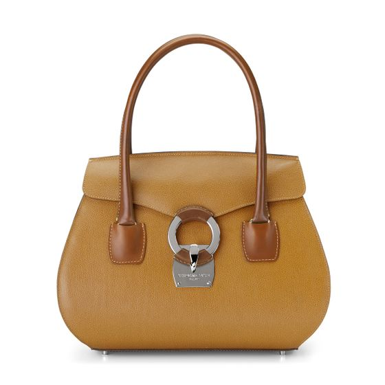 Eliza-Handbag-Grained-Leather-Mustard-Front-Base