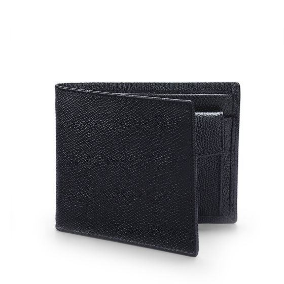 Classic-Billfold-Wallet-With-Coin-Pocket-Grained-Leather-Black-3-4-Base-2