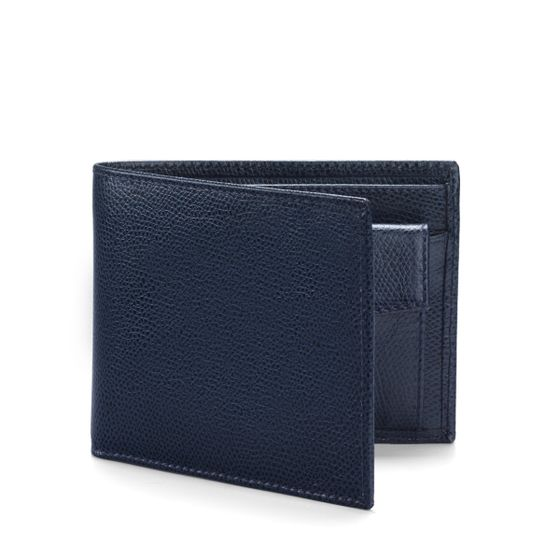 Classic-Billfold-Wallet-With-Coin-Pocket-Grained-Leather-Petrol-3-4-Base
