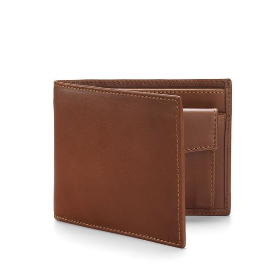 Classic-Billfold-Wallet-With-Coin-Pocket-Bridle-Leather-Tan-3-4-Base