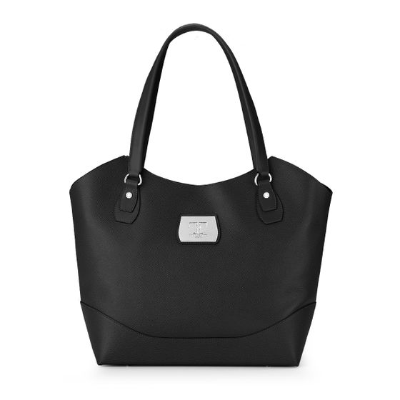 Kitty-Tote-Grained-Leather-Black-Front-Base