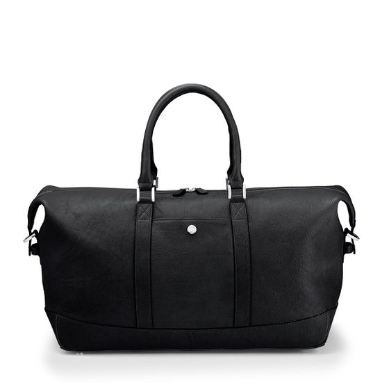 Albemarle-Clipper-Holdall-Bag-Natural-Leather-Black-Front-Base-1