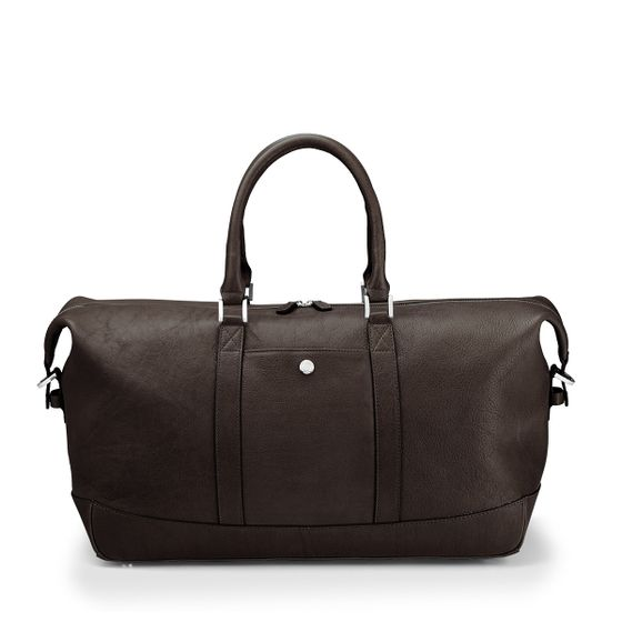 Albemarle-Clipper-Holdall-Bag-Natural-Leather-Chocolate-Front-Base-1