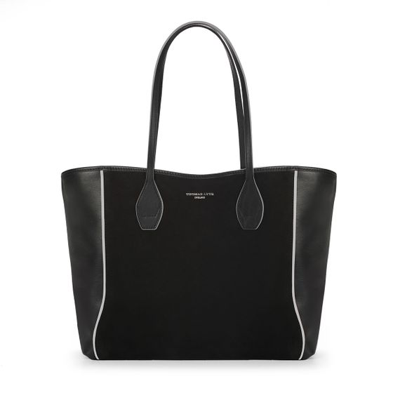 Olivia-Shopper-Tote-Black-With-White-Trim-Front-Base