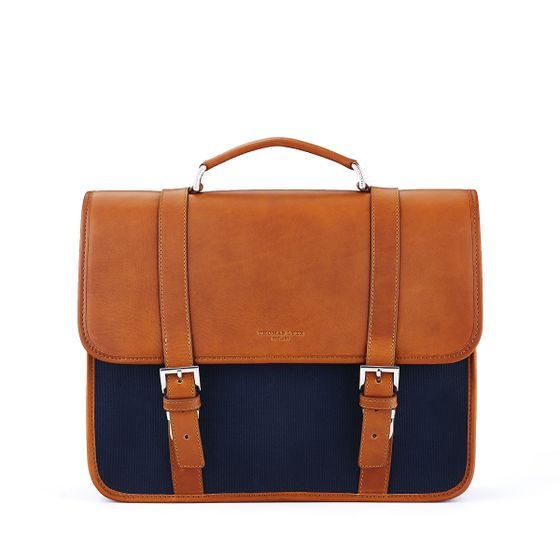 Albemarle-Satchel-Natural-And-Canvas-Leather-Petrol-Front-Base
