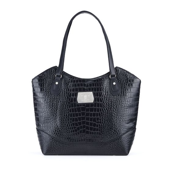 Kitty-Tote-Croc-Leather-Black-Front-Base