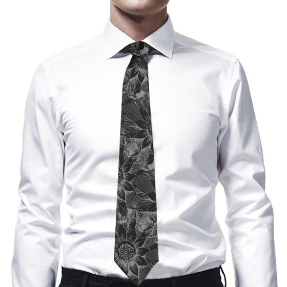 Tie-Flower-Stream-Black-And-Grey-Woven-Silk-Base