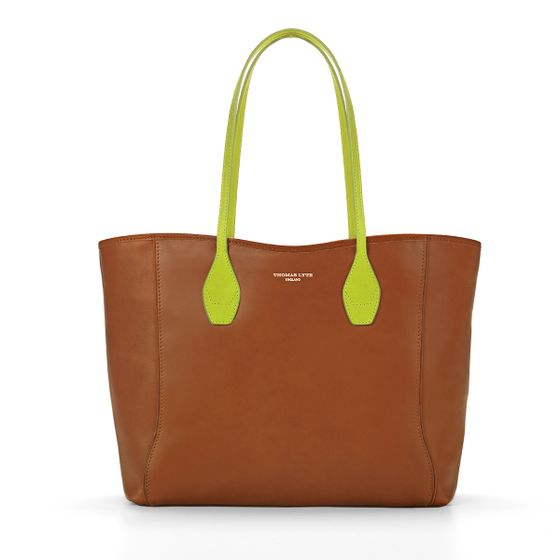 Olivia-Tan-With-Lime-Handles-Front-Base-1-3