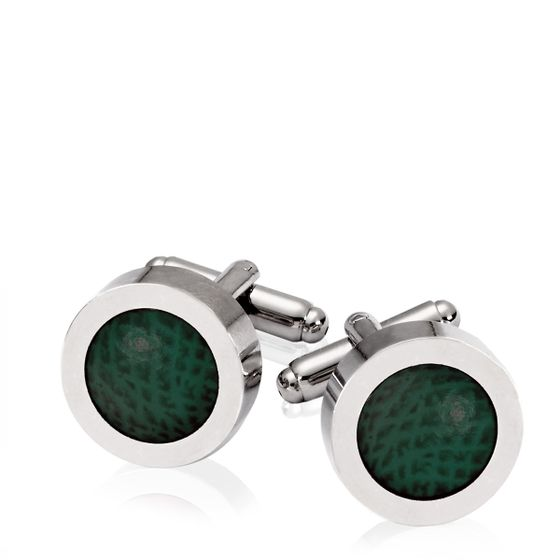 Leather-Cufflink-Racing-Green-Rhodium-Plate-Base