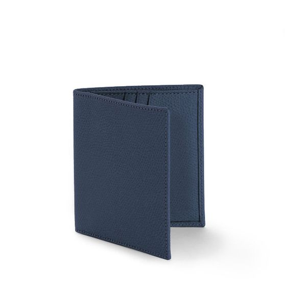 Slim-Billfold-Wallet-Grained-Leather-Petrol-Front-Base-1