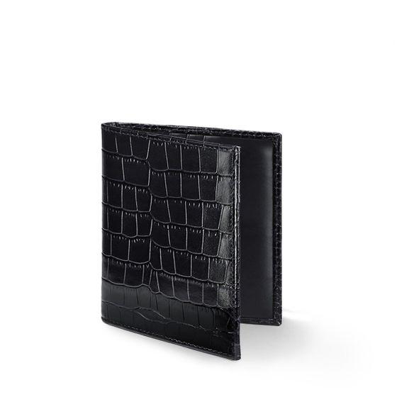 Slim-Billfold-Wallet-Grained-Leather-Black-Croc-Open-Base