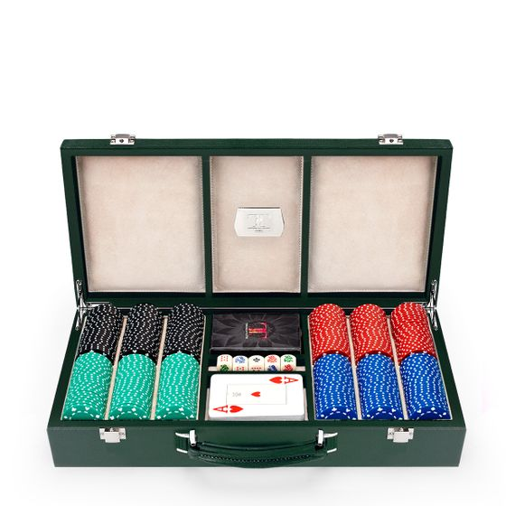 Poker-Set-300-Pcs-Straight-Open-Racing-Green-Grain-Base